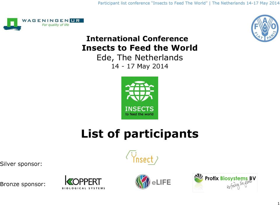 International Conference Insects to Feed the World Ede, The