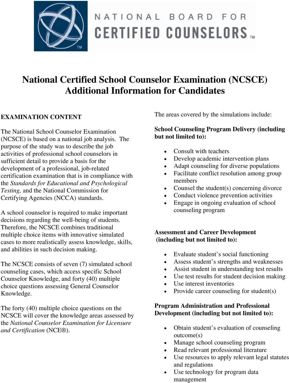 National Certified School Counselor Examination (NCSCE