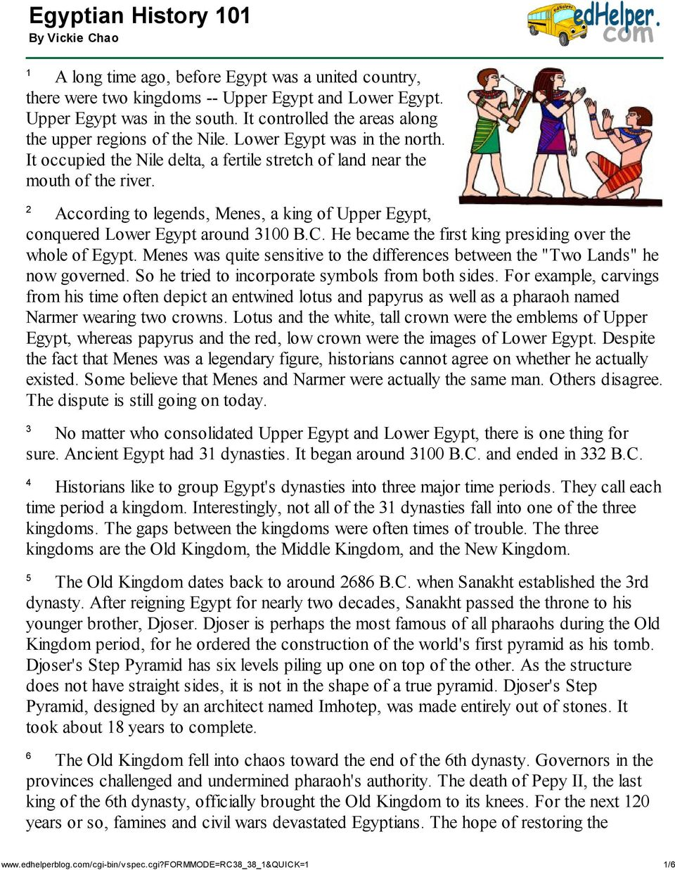 Egyptian History 101 By Vickie Chao Pdf Six Kingdoms Worksheet