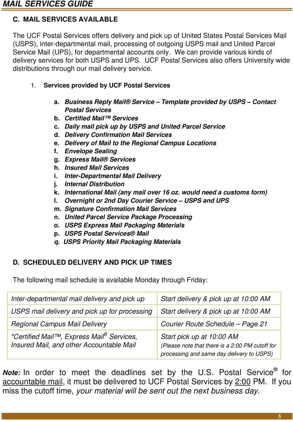 mail services guide ucf postal services - pdf