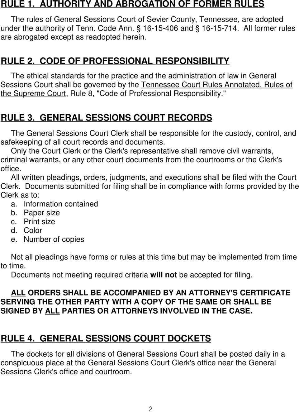RULES OF COURT FOR GENERAL SESSIONS COURT FOR SEVIER COUNTY