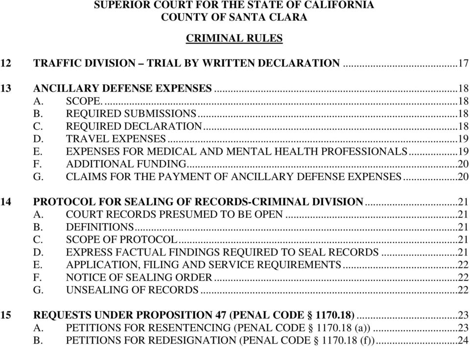 SUPERIOR COURT FOR THE STATE OF CALIFORNIA COUNTY OF SANTA