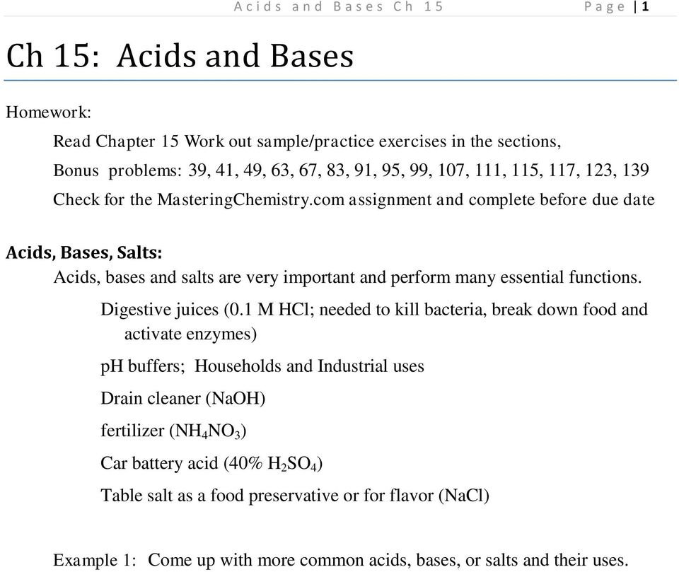 Ch 15: Acids and Bases - PDF