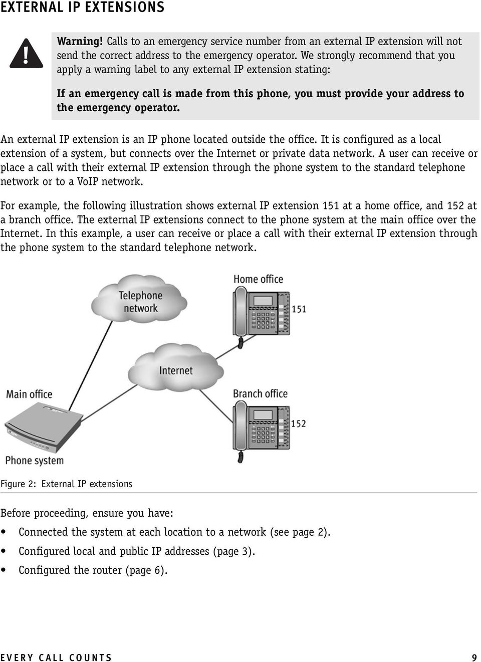 An external IP extension is an IP phone located outside the office. It is configured as a local extension of a system, but connects over the Internet or private data network.
