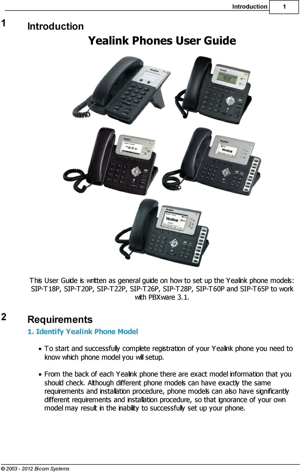 Yealink Phones User Guide Bicom Systems - PDF