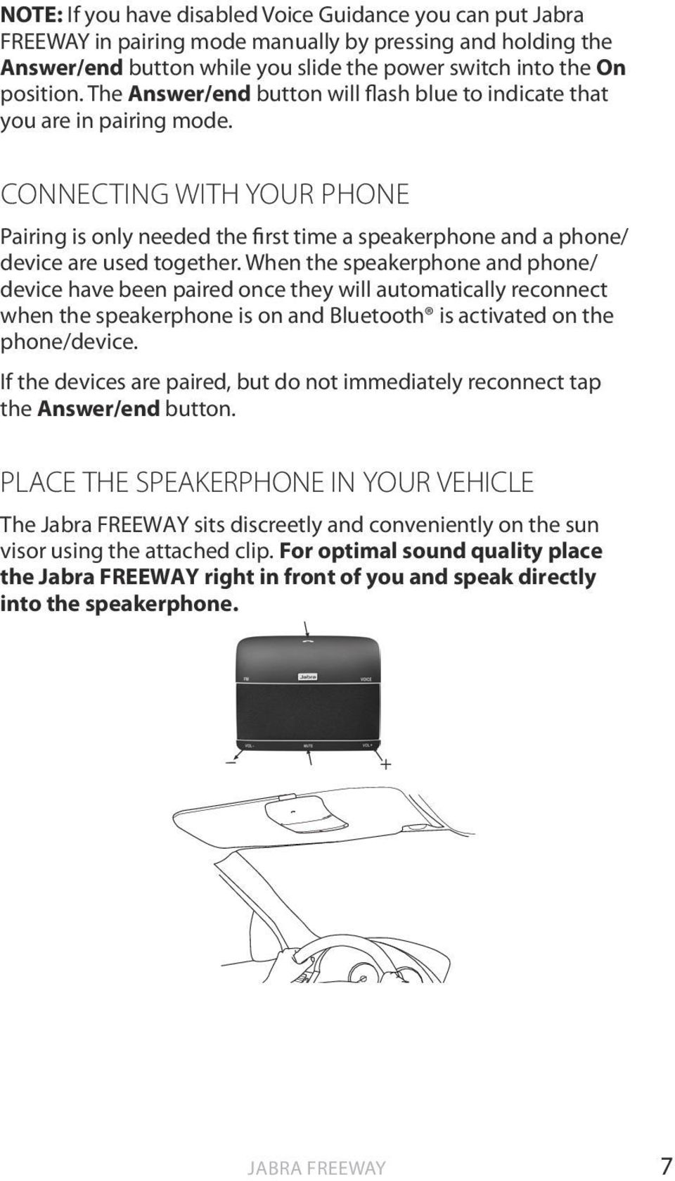 Jabra freeway. User manual. Pdf.