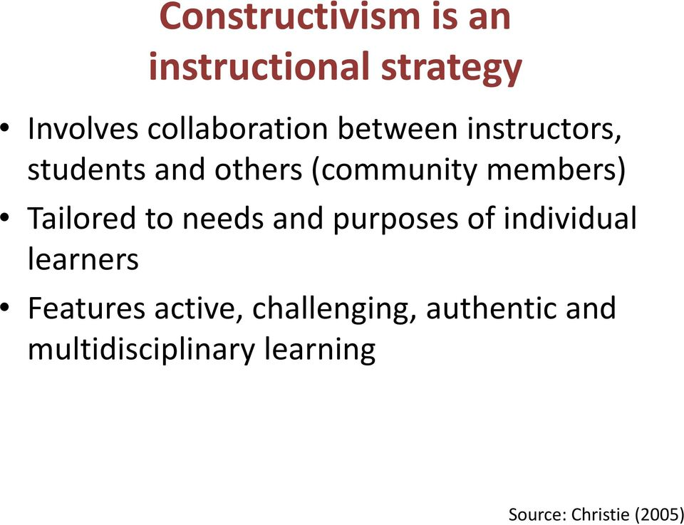 Constructivism A Holistic Approach To Teaching And Learning Pdf