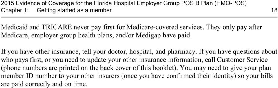 If you have other insurance, tell your doctor, hospital, and pharmacy.