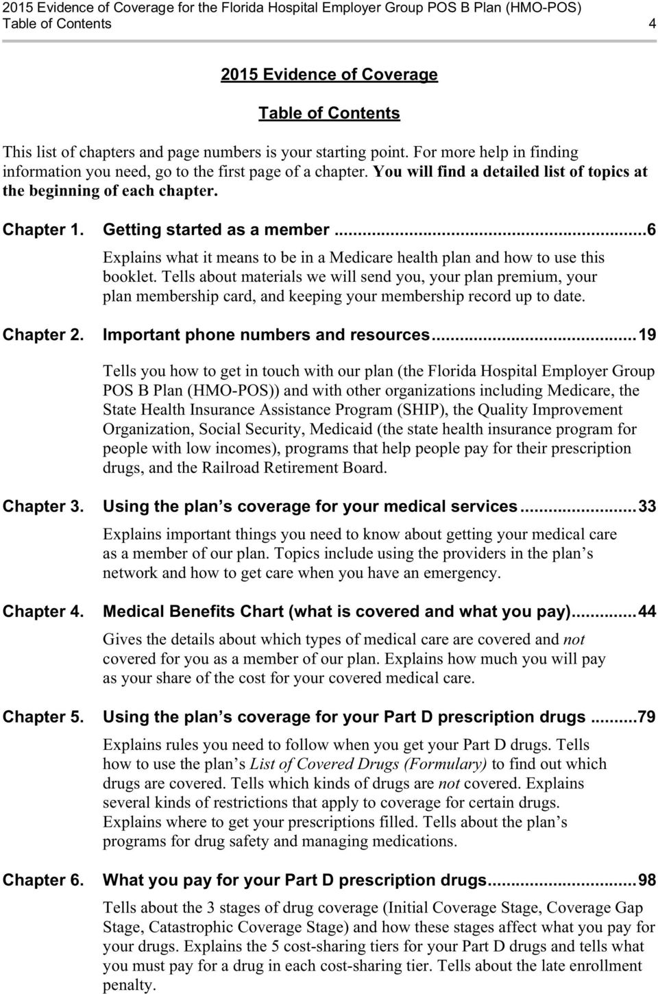 ..6 Explains what it means to be in a Medicare health plan and how to use this booklet.