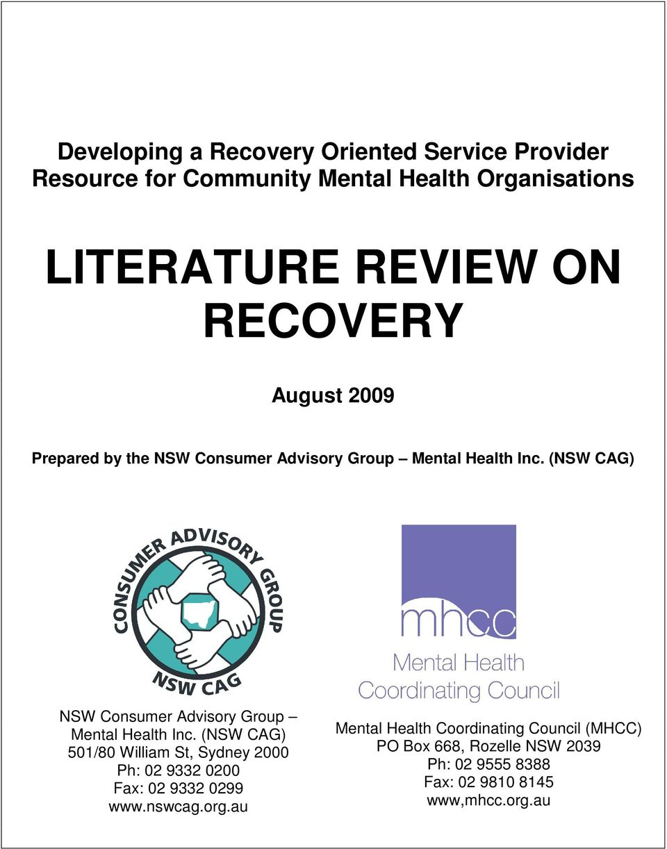 LITERATURE REVIEW ON RECOVERY - PDF