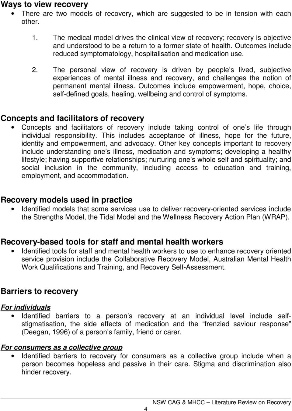 Literature Review On Recovery Pdf