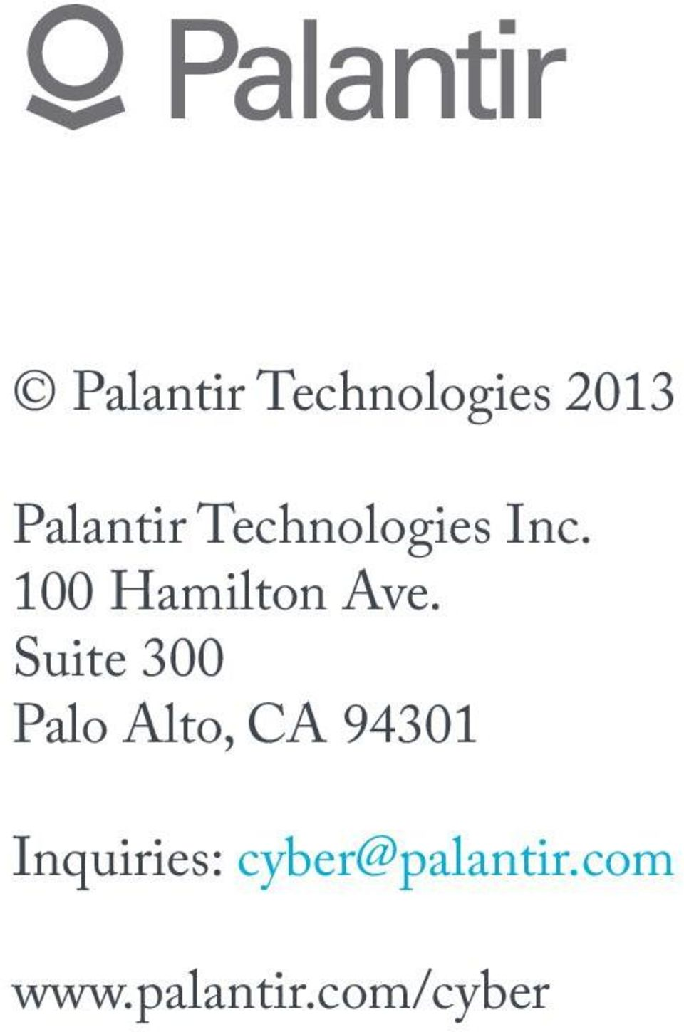PALANTIR CYBER An End-to-End Cyber Intelligence Platform for