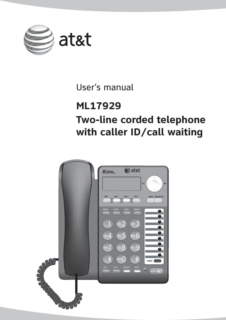 user s manual ml17929 two line corded telephone with caller id call rh docplayer net at&t telephone model 1855 instructions