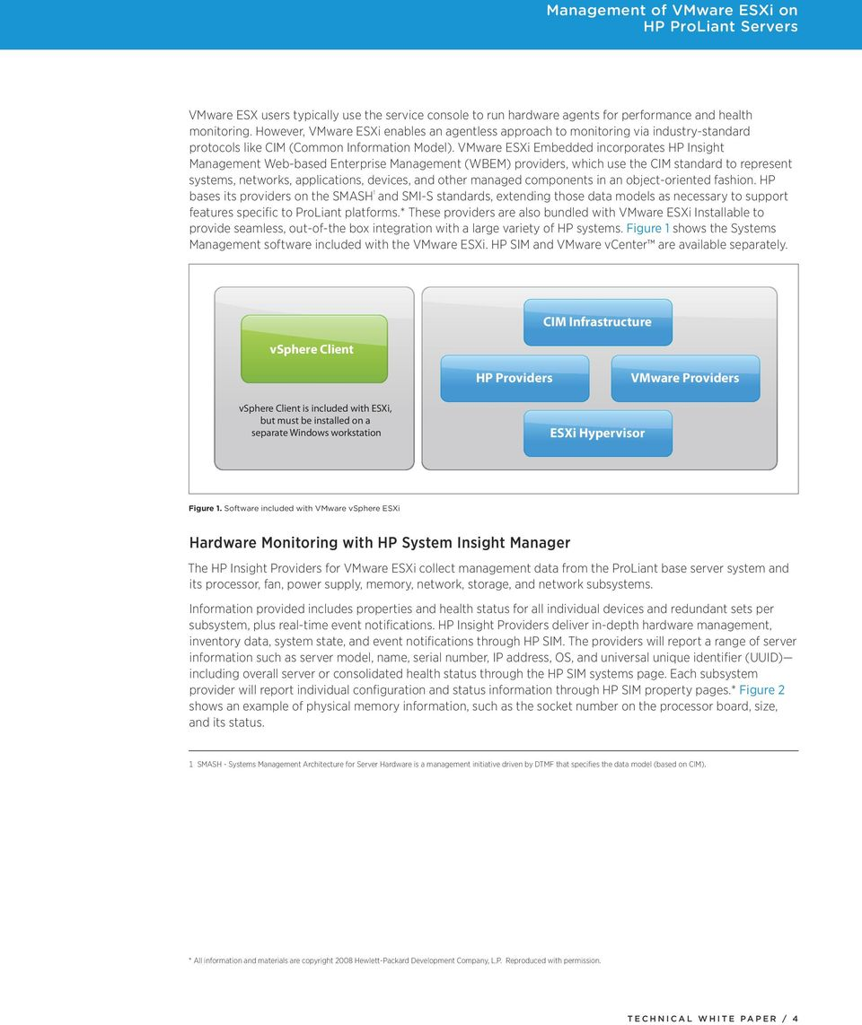 VMware ESXi Embedded incorporates HP Insight Management Web-based Enterprise Management (WBEM) providers, which use the CIM standard to represent systems, networks, applications, devices, and other