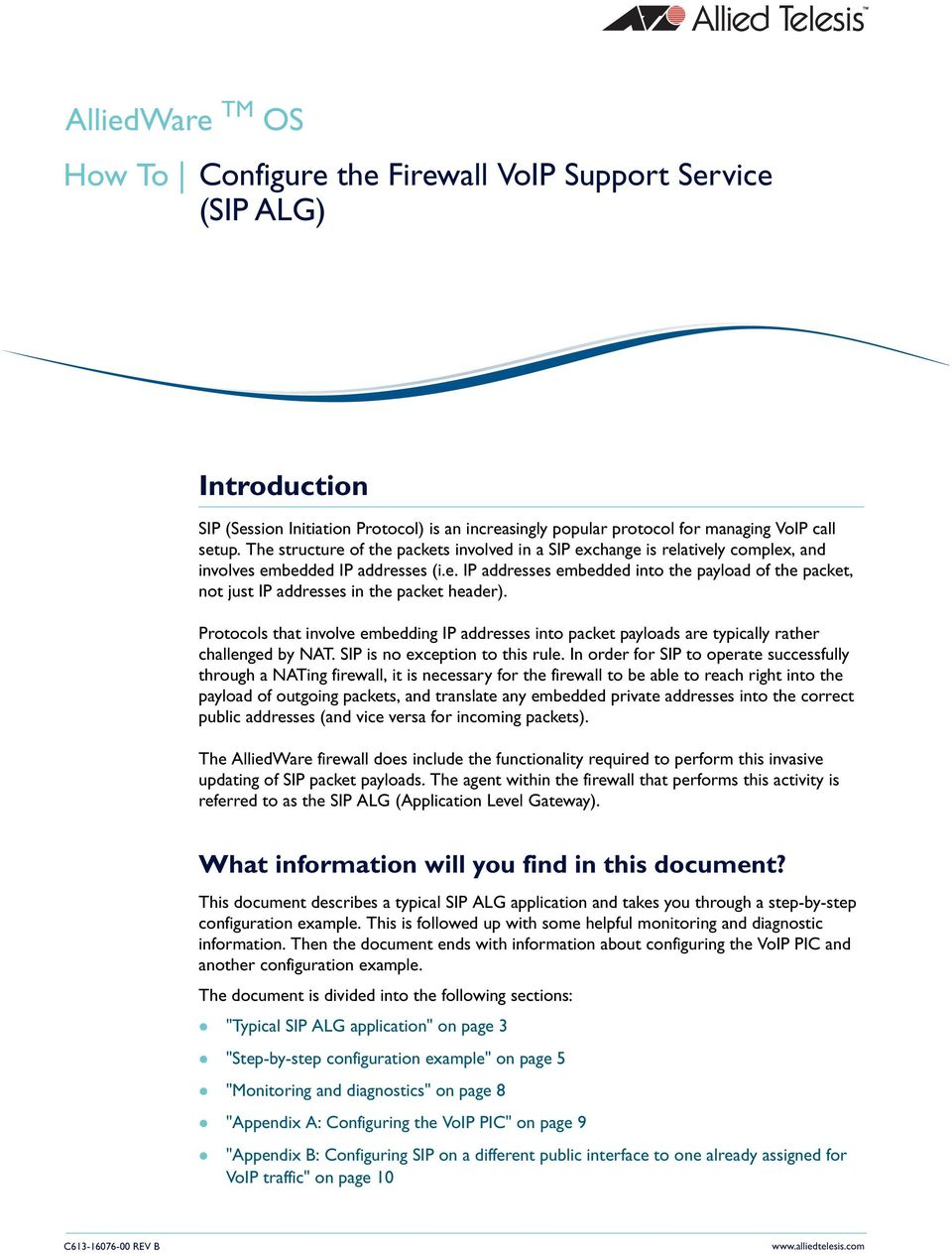 Configure the Firewall VoIP Support Service (SIP ALG) - PDF