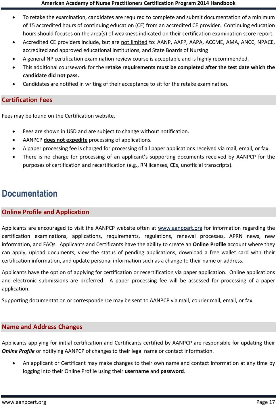AANPCP CANDIDATE HANDBOOK and RENEWAL of CERTIFICATION