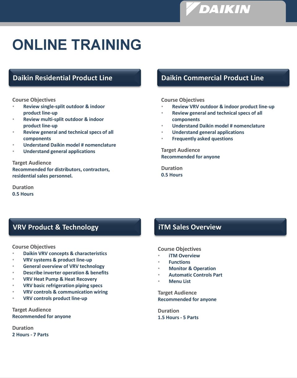 Daikin University Training Course Guide Pdf Mini Split Wiring Diagram Review Vrv Outdoor Indoor Product Line Up General And Technical Specs Of All
