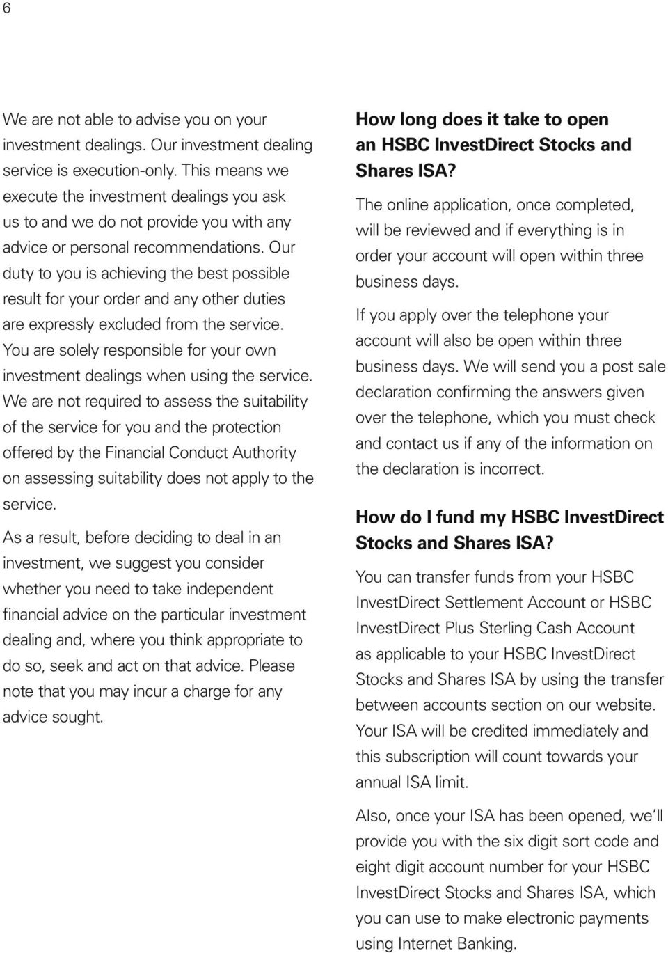 Key features of the HSBC InvestDirect Stocks and Shares ISA