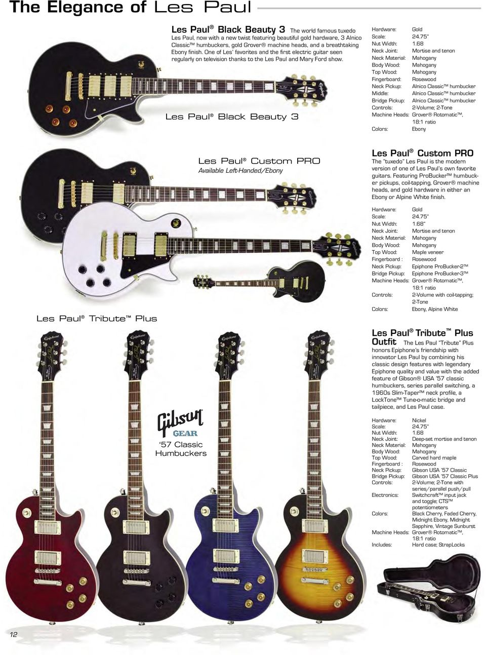 Epiphone Guitar Co A Part Of The Gibson Family Brands 1510 Elm Humbuckers 3way Toggle Switch 2 Volumes Tones Coil Tap Reverse Les Paul Black Beauty 3 Hardware Gold Nut Width 1
