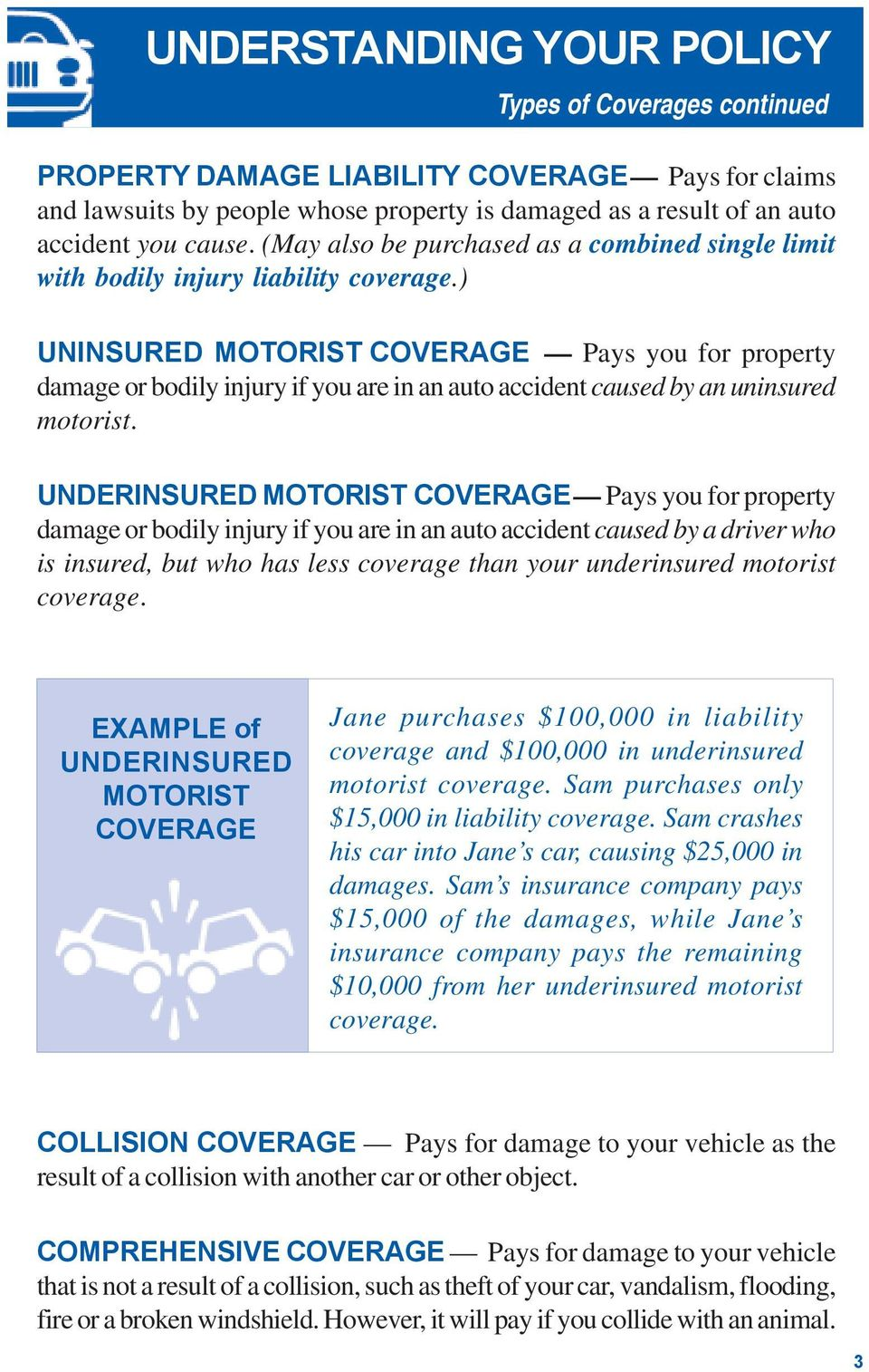 ) UNINSURED MOTORIST COVERAGE Pays you for property damage or bodily injury if you are in an auto accident caused by an uninsured motorist.