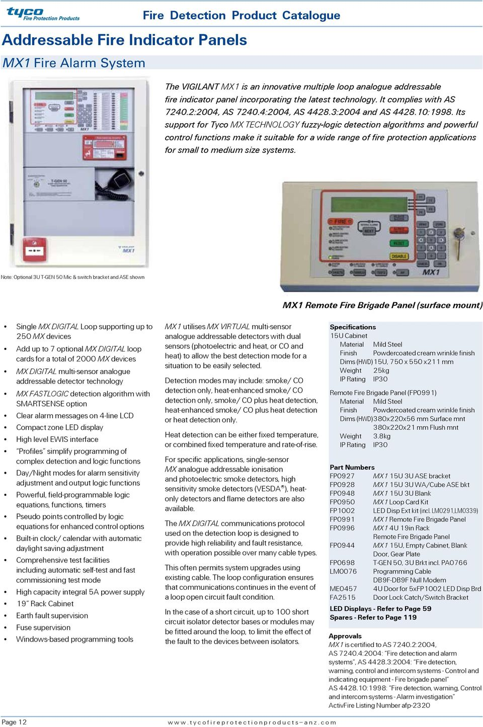 Fire Detection Product Catalogue Australia Issue 4 Pdf System Ebl128 Panasonic Electric Works Europe Ag Its Support For Tyco Mx Technology Fuzzy Logic Algorithms And Powerful Control Functions Make