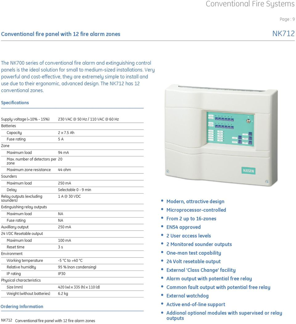 Ge Security Kilsen Fire Systems Product Catalogue Pdf Digital Timer Relay Output Supply Voltage 10 15 Batteries Zone Capacity Fuse Rating Maximum