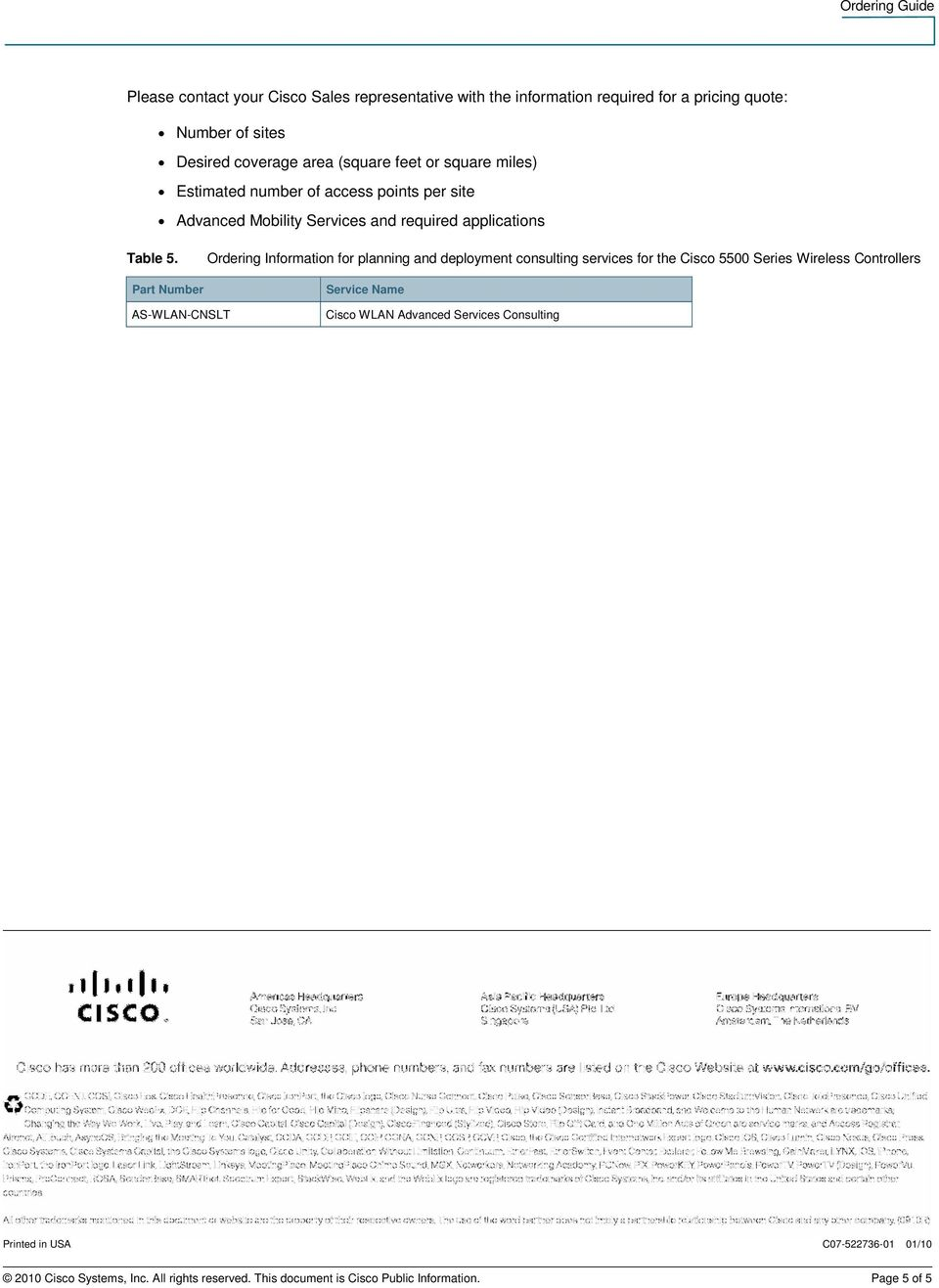 Cisco 5500 Series Wireless Controller Licensing and Ordering