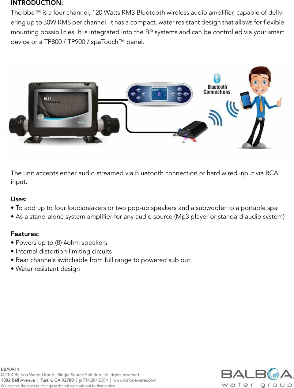 Bba Balboa Bluetooth Audio Amp Installation User Guide Pdf Hot Tub Wiring Diagrams Together With Electrical It Is Integrated Into The Bp Systems And Can Be Controlled Via Your Smart Device Or