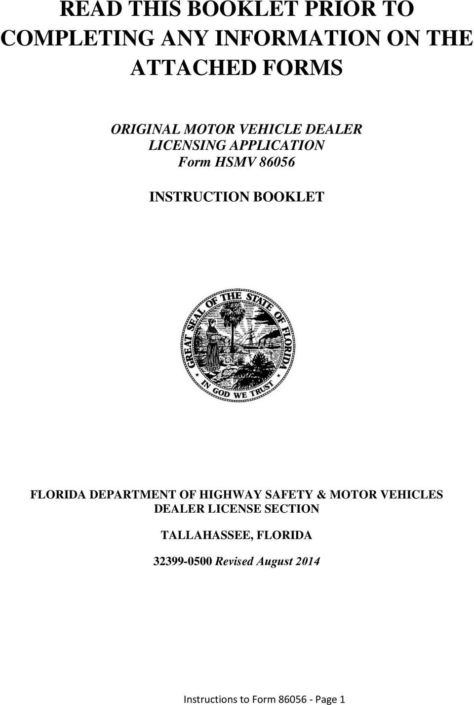 BOOKLET FLORIDA DEPARTMENT OF HIGHWAY SAFETY & MOTOR VEHICLES DEALER LICENSE