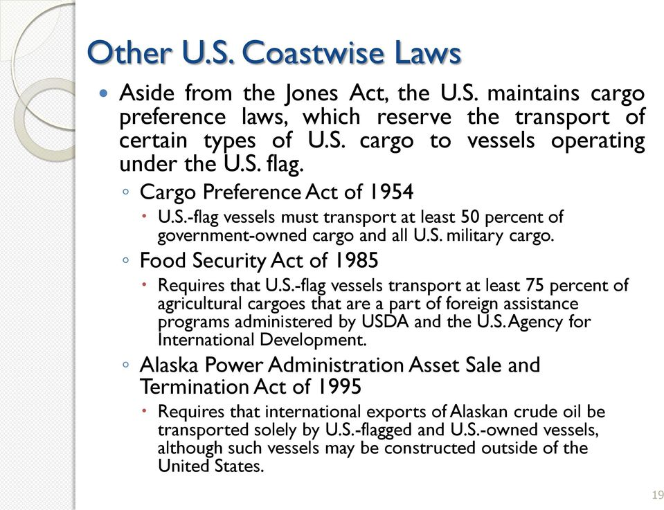 S. Agency for International Development. Alaska Power Administration Asset Sale and Termination Act of 1995 Requires that international exports of Alaskan crude oil be transported solely by U.S.-flagged and U.