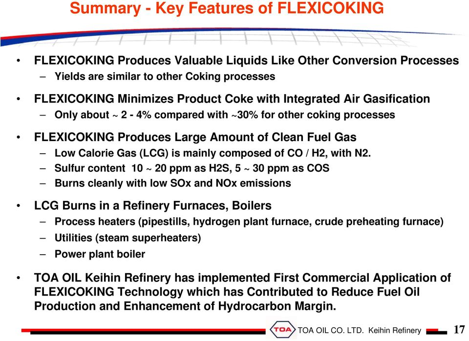 FLEXICOKING technology for upgrading heavy oil and utilization of by