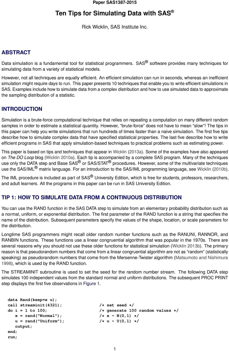 Ten Tips for Simulating Data with SAS - PDF