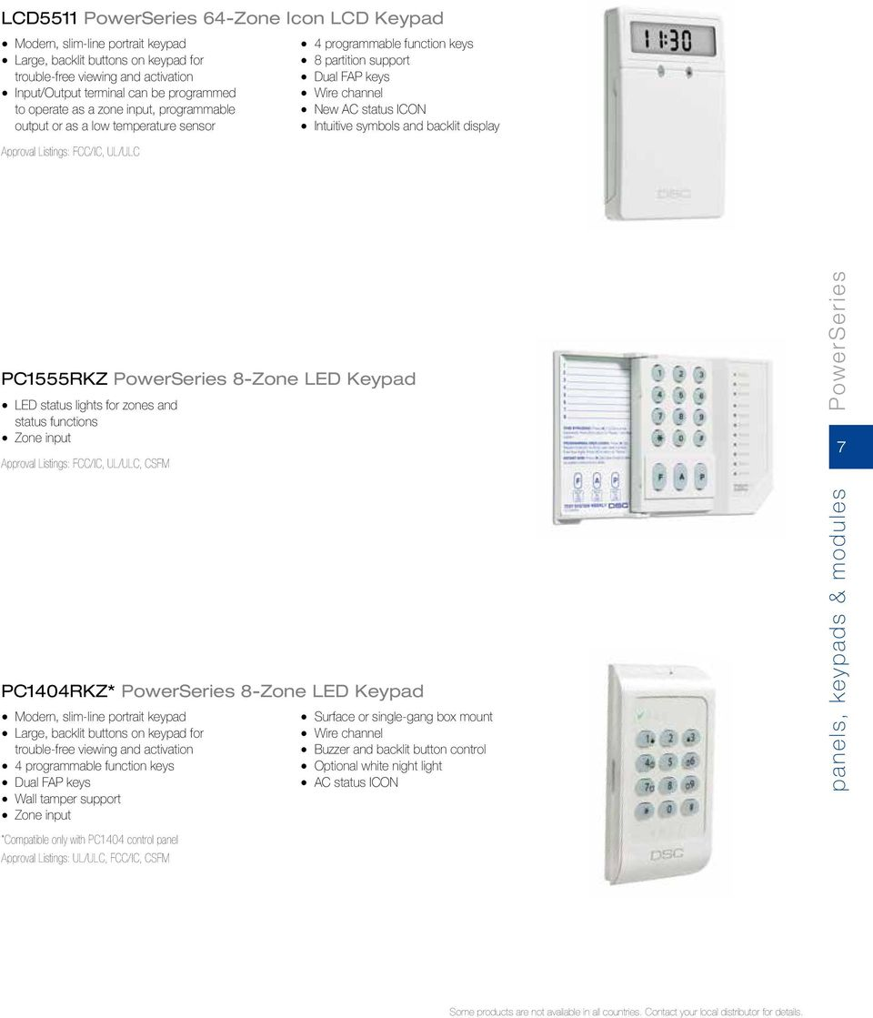 From Tyco Security Products Product Catalog Pdf Dsc Neo Wiring Diagram Display Pc1555rkz Powerseries 8 Zone Led Keypad Status Lights For Zones And Functions
