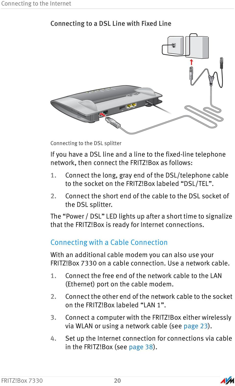 Fritzbox Installation And Operation Pdf Wiring Diagram For Dsl Inter On Phone Line Splitter Connect The Short End Of Cable To Socket