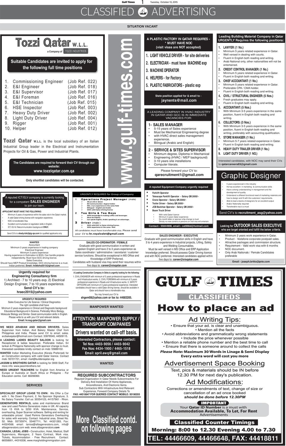 Gulf Times Situation Vacant Pdf