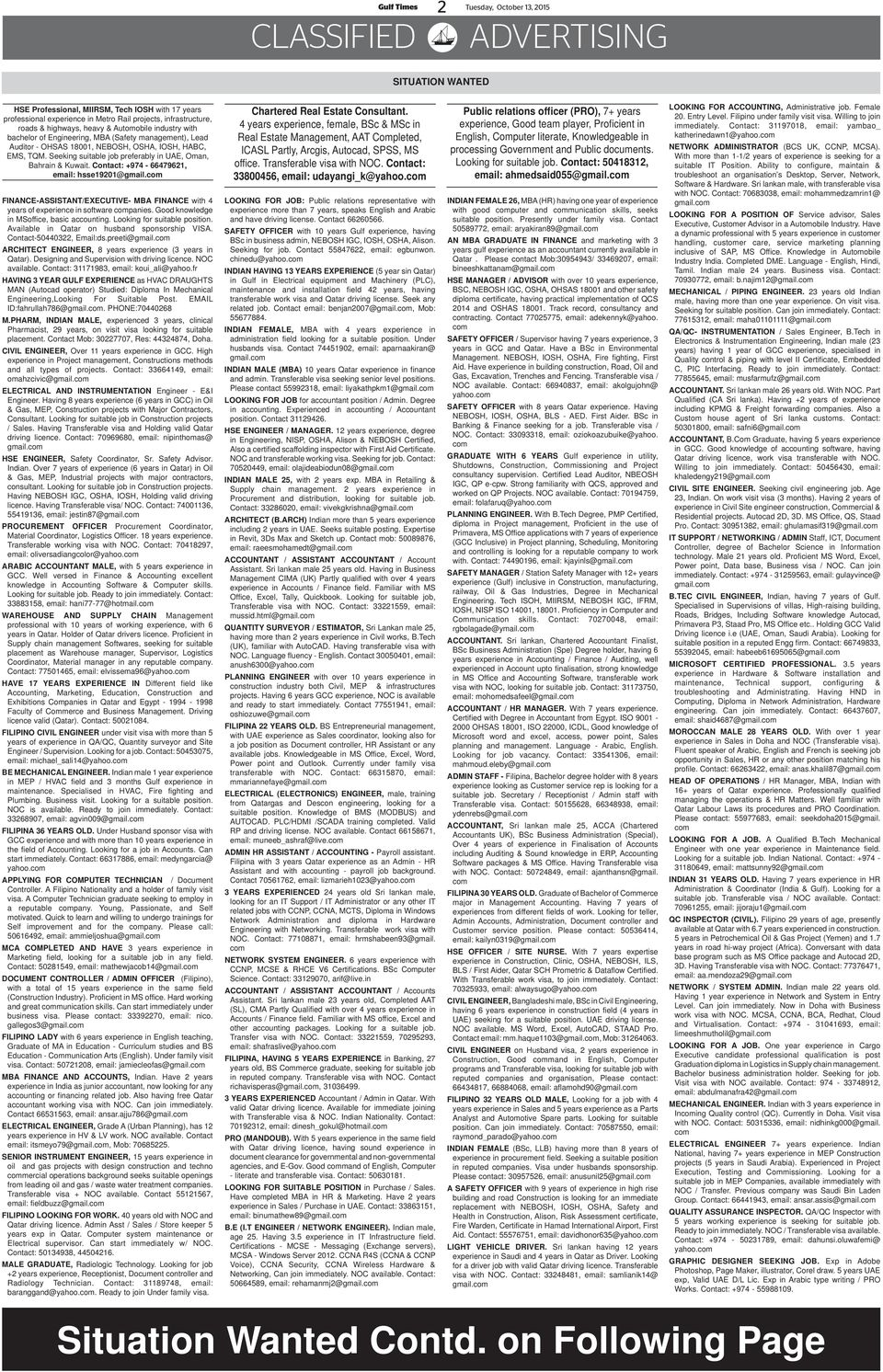 Gulf Times SITUATION VACANT - PDF