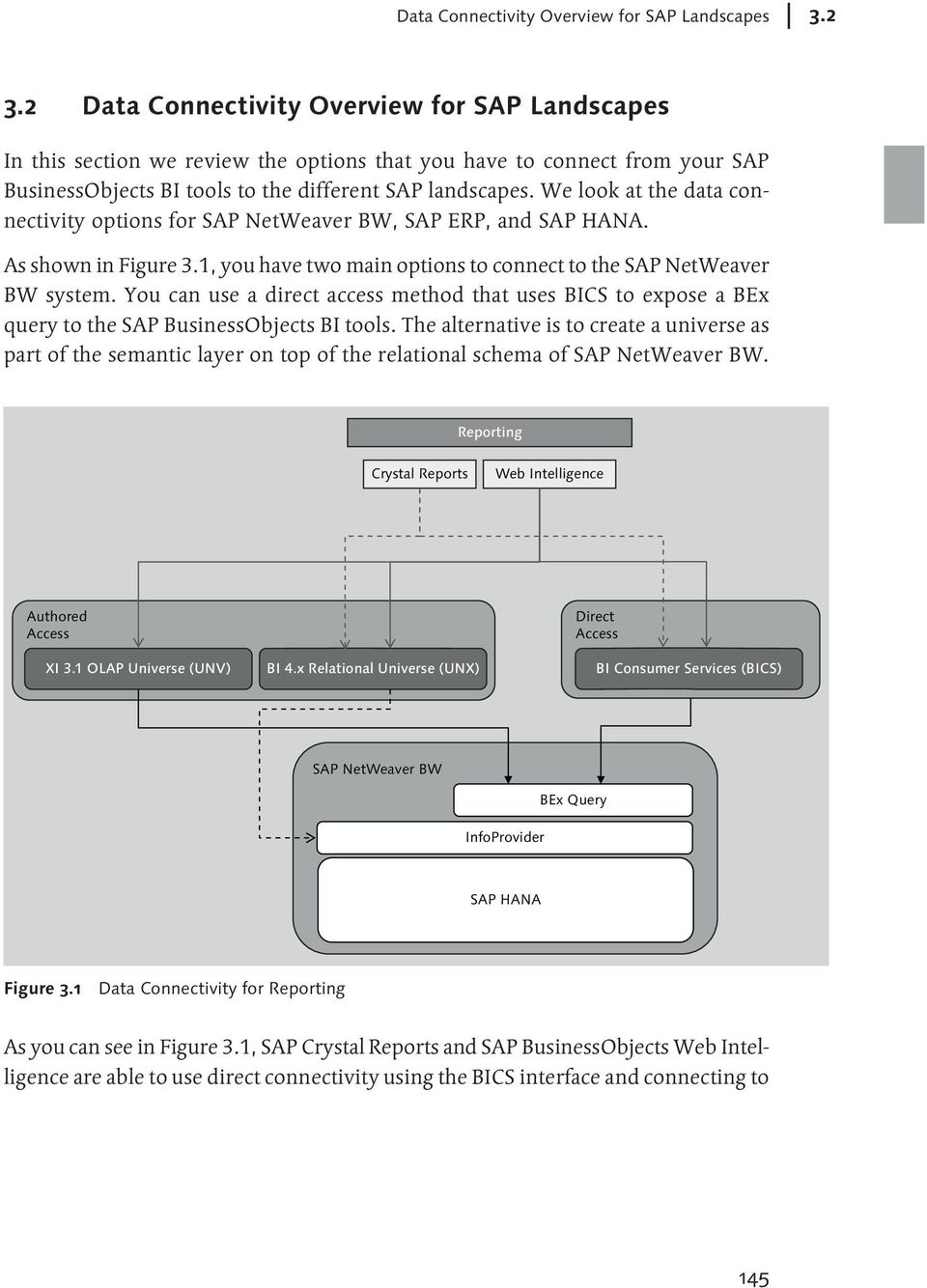 We look at the data connectivity options SAP NetWeaver BW, SAP ERP, and SAP HANA. As shown in Figure 3.1, you have two main options to connect to the SAP NetWeaver BW system.