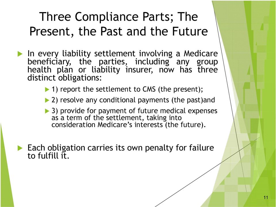 (the present); 2) resolve any conditional payments (the past)and 3) provide for payment of future medical expenses as a term of the