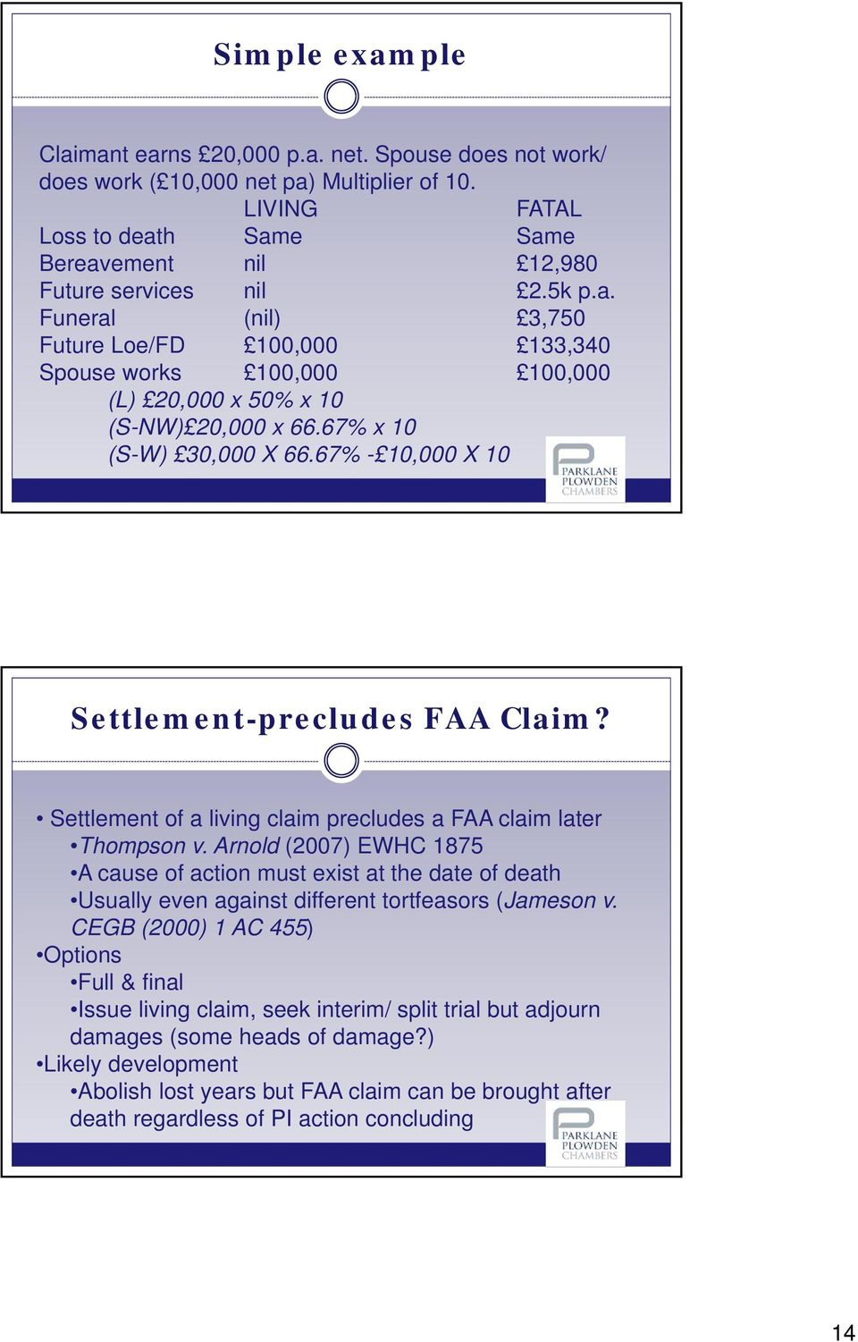 67% - 10,000 X 10 Settlement-precludes FAA Claim? Settlement of a living claim precludes a FAA claim later Thompson v.
