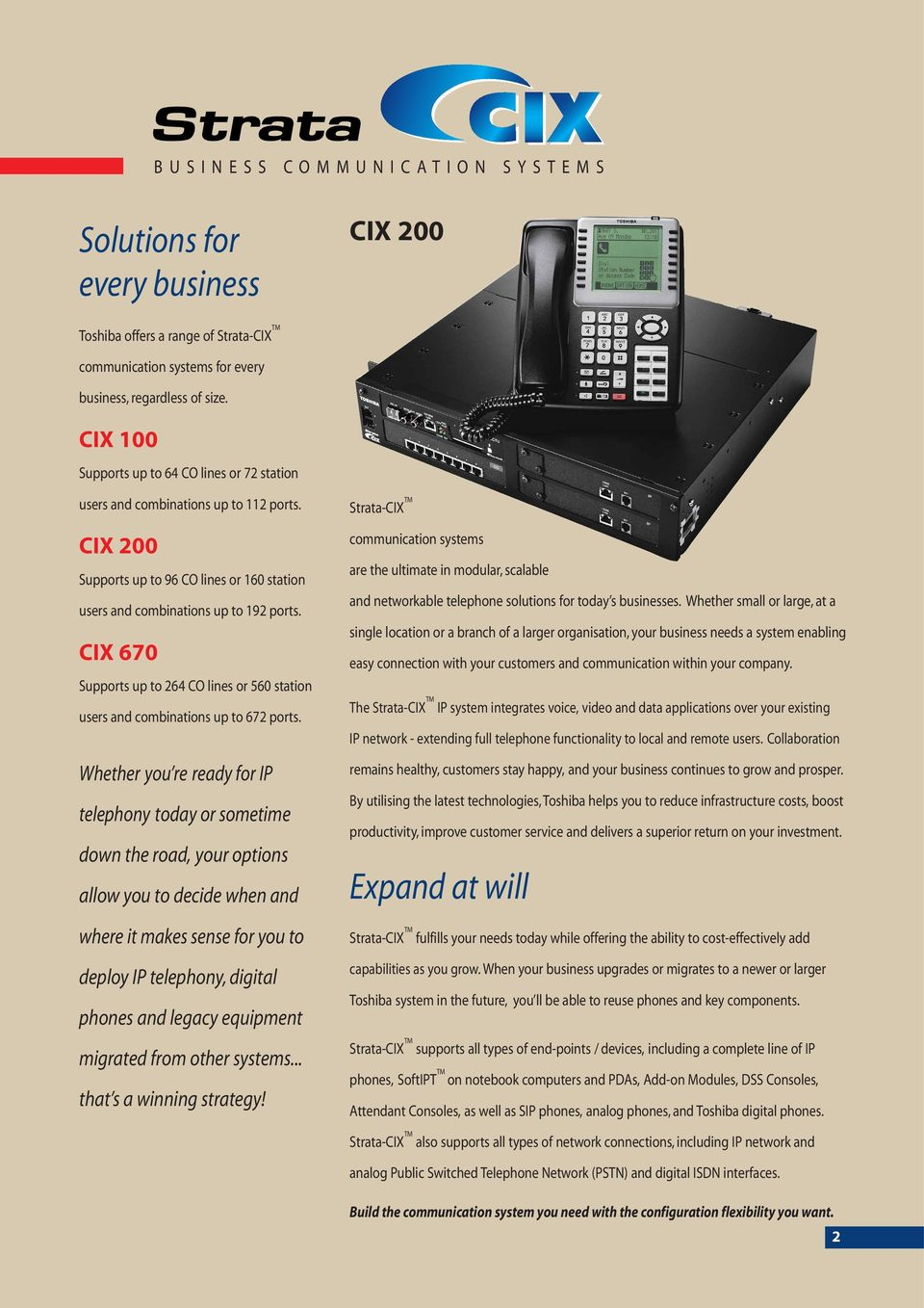 CIX 670 Supports up to 264 CO lines or 560 station users and combinations up to 672 ports.