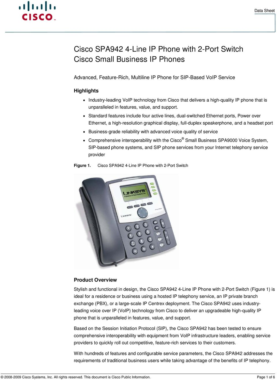 Cisco SPA942 4-Line IP Phone with 2-Port Switch Cisco Small Business