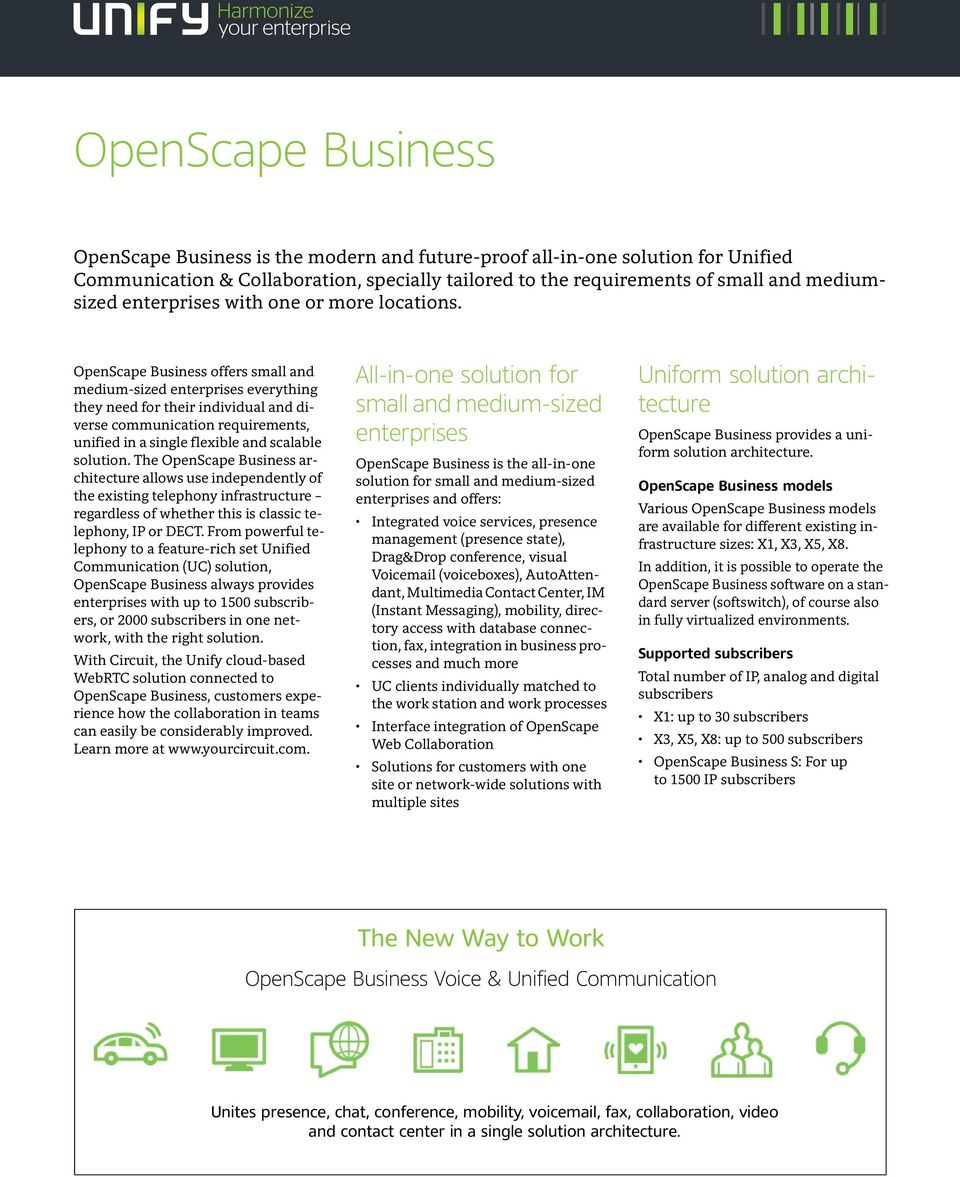 OpenScape Business offers small and medium-sized enterprises everything they need for their individual and diverse communication requirements, unified in a single flexible and scalable solution.