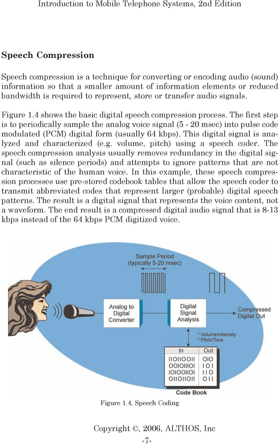 The first step is to periodically sample the analog voice signal (5-20 msec) into pulse code modulated (PCM) digital form (usually 64 kbps). This digital signal is analyzed and characterized (e.g. volume, pitch) using a speech coder.