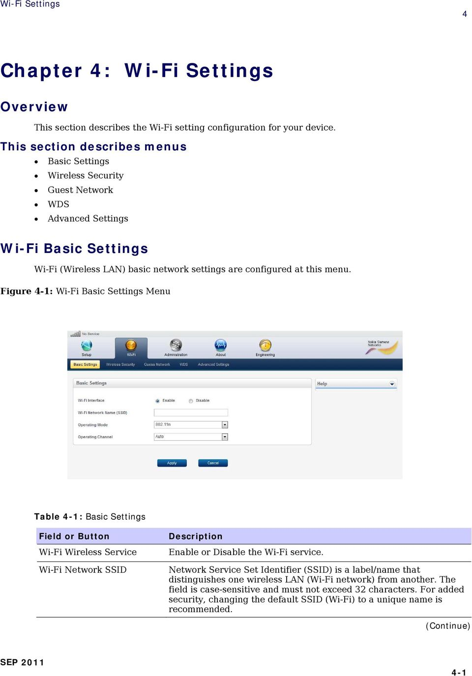 menu. Figure 4-1: Wi-Fi Basic Settings Menu Table 4-1: Basic Settings Wi-Fi Wireless Service Wi-Fi Network SSID Enable or Disable the Wi-Fi service.