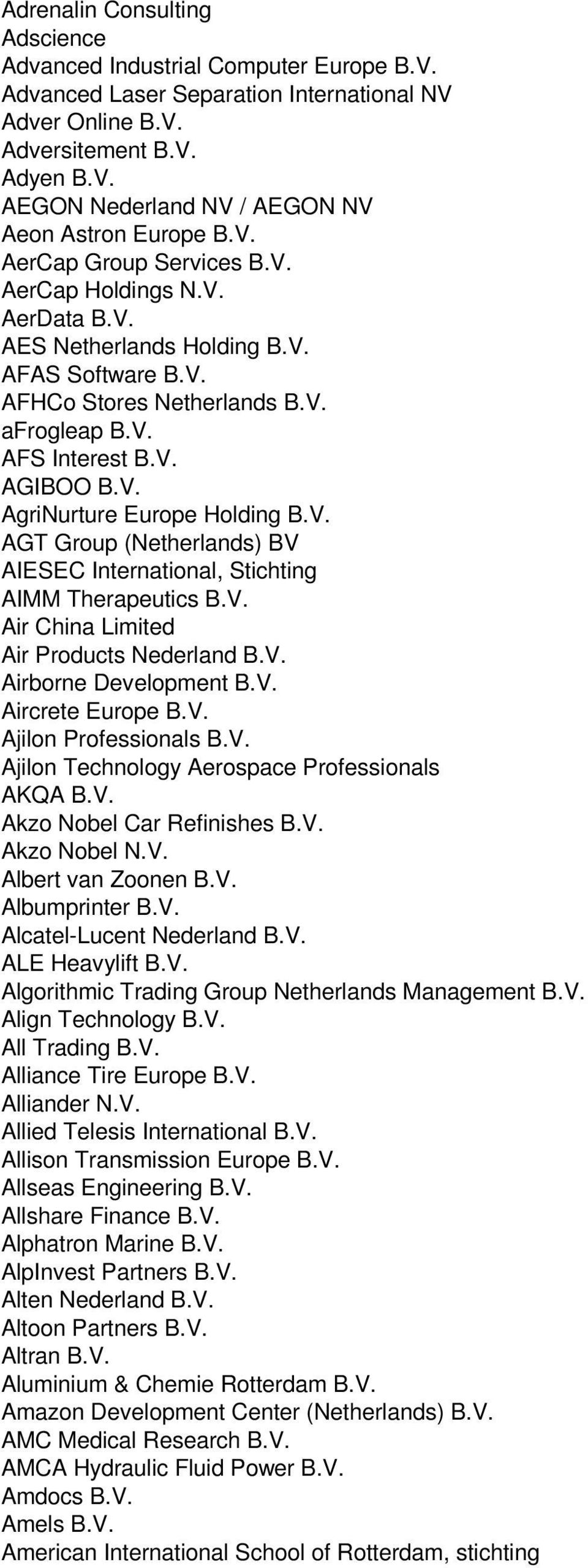 V. AGT Group (Netherlands) BV AIESEC International, Stichting AIMM Therapeutics B.V. Air China Limited Air Products Nederland B.V. Airborne Development B.V. Aircrete Europe B.V. Ajilon Professionals B.
