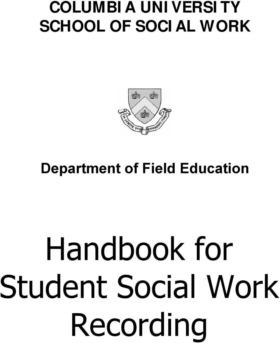 Field Education Handbook for