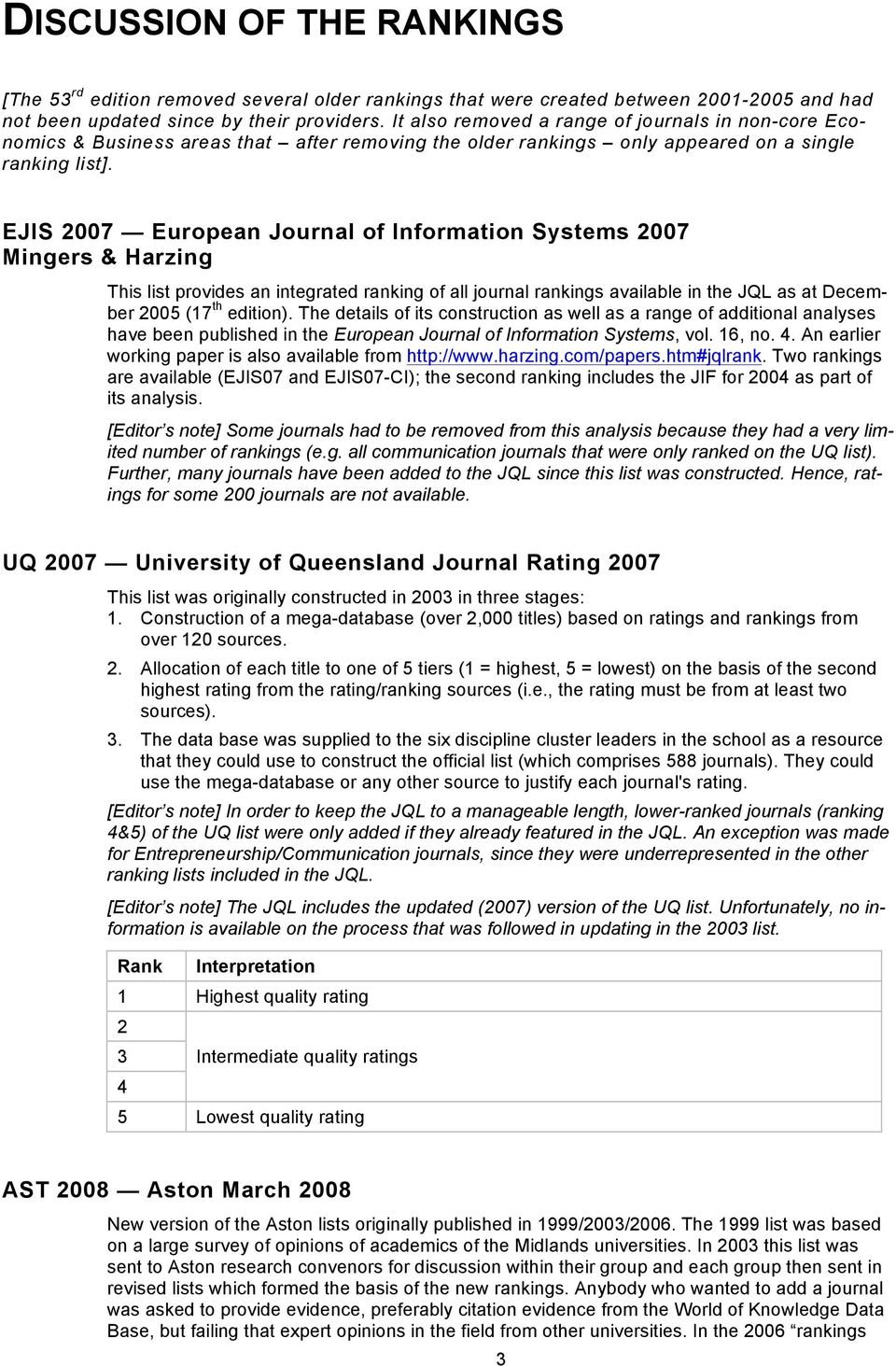 EJIS European of Information Systems Mingers & Harzing This list provides an integrated ranking of all journal rankings available in the JQL as at December 2005 (17 th edition).