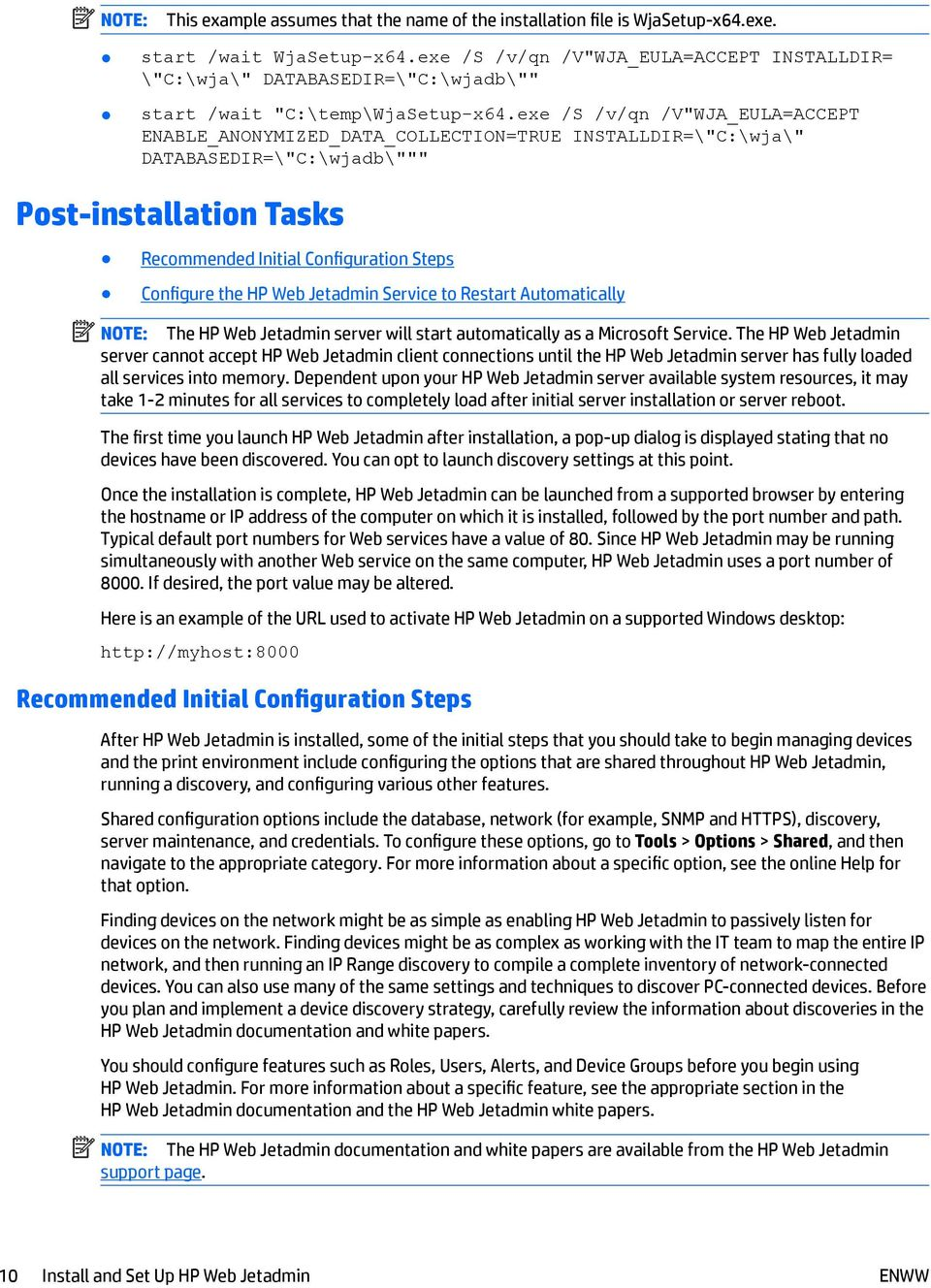 HP Web Jetadmin Installation and Setup Guide - PDF