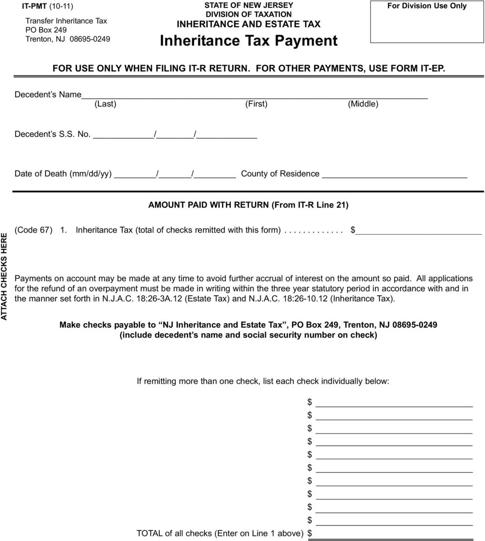 Transfer Inheritance And Estate Tax New Jersey Division Of Taxation