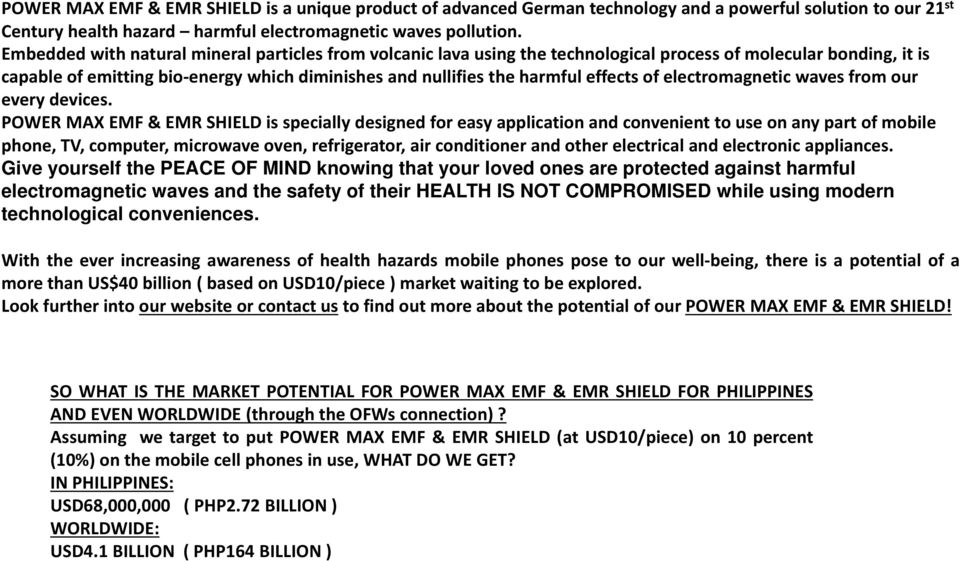 Power Maxx POWER MAX EMF & EMR SHIELD. The DANGER of RADIATION from ...